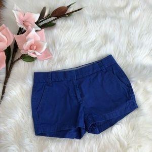 J. Crew Royal Blue 3 Inch Cotton Chino Shorts